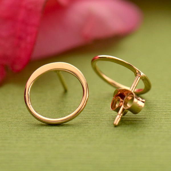 Small Open Circle Post Earrings - 18k Rose Gold Plated Sterling Silver