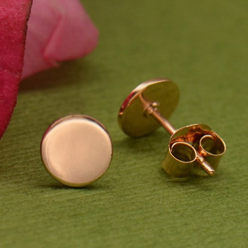 Circle Stud Post Earrings - Geometric Jewelry - 18k Rose Gold Plated Sterling Silver