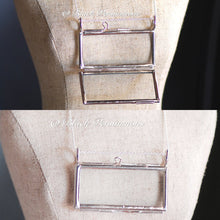 Rectangle Necklace - White Plated Picture Glass Hinged Frame Pendant - Solid 925 Sterling Silver