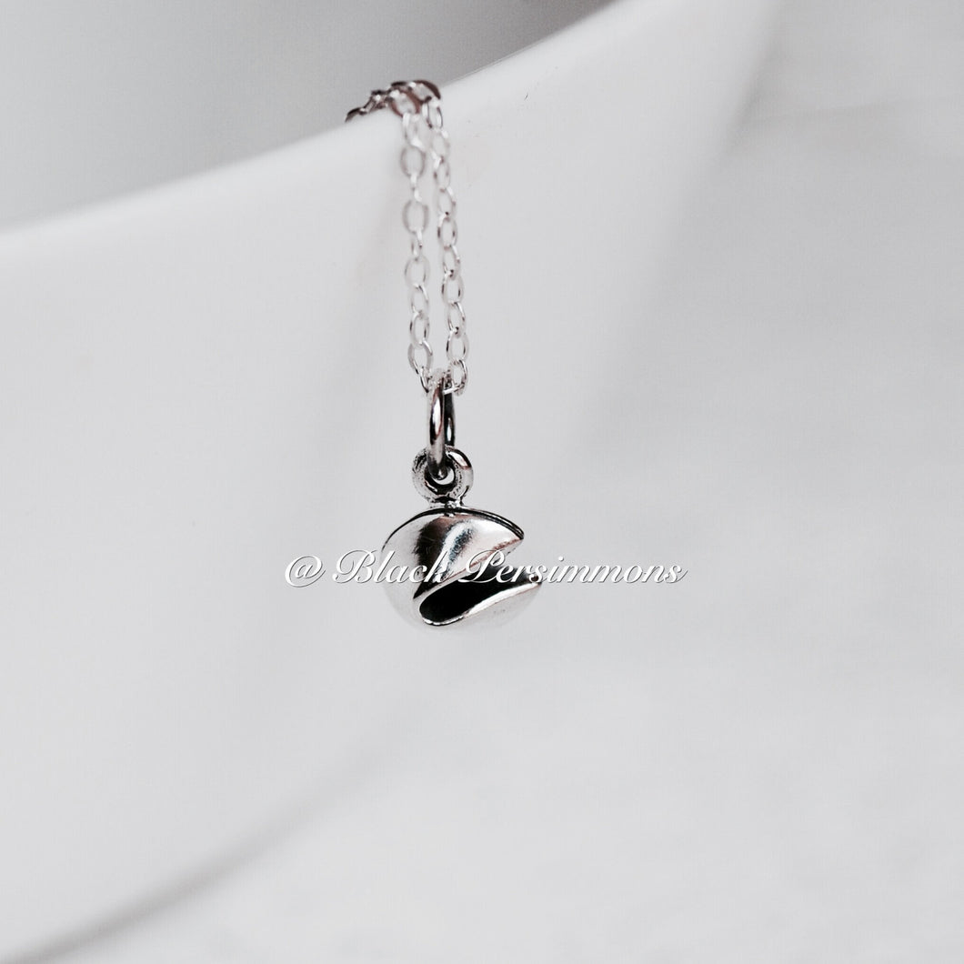 Tiny Realistic Fortune Cookie Charm Necklace - Solid 925 Sterling Silver