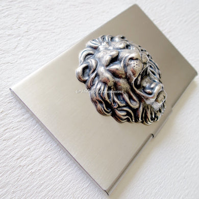 Leo Lion Stainless Steel Business Card Case Box
