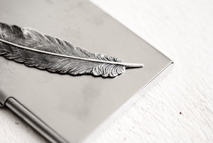 Feather Stainless Steel Business Card Case Box