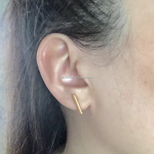 Bar Post Earrings - Geometric Jewelry - Satin 24k Gold Plated Sterling Silver