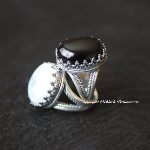 Magnhild Black Onyx Ring - Solid 925 Sterling Silver
