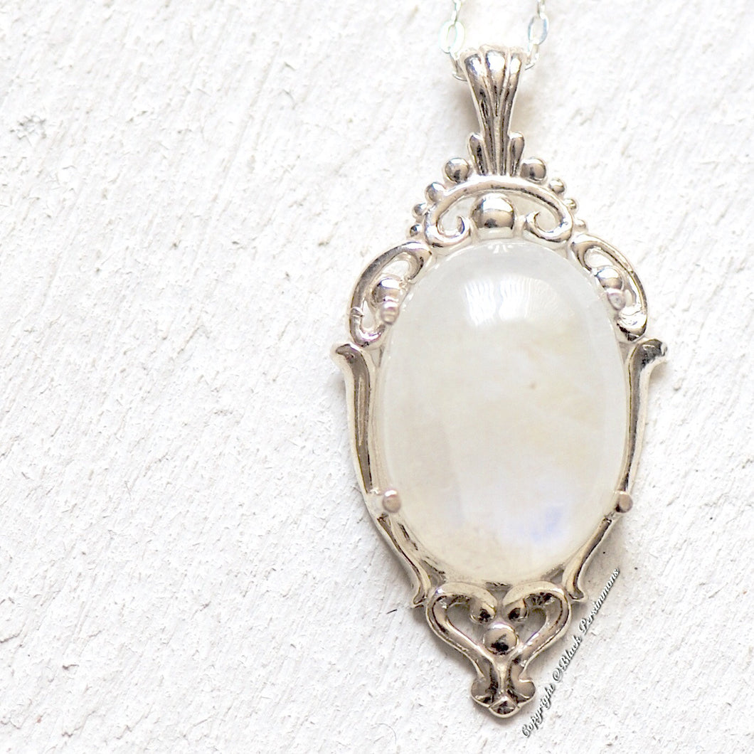 Eydis Rainbow Moonstone Gothic Necklace - Solid 925 -  Genuine Auspicious Feng Shui Intelligence Symbol Gemstone - Insurance Included