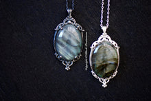 Asta Labradorite Gothic Necklace - Solid 925 25x18mm - Genuine Auspicious Feng Shui Rebirth Symbol Gemstone Cabochon - Insurance Included
