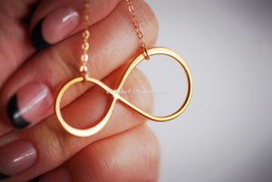 Infinity Necklace - Extra Large 24k Gold Plated Sterling Silver Vermeil Link - 14K Gold Filled Chain - Insurance Included
