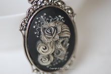 Miss Gypsy Skeleton Gothic Necklace - Dia De Los Muertos Day of the Dead Girl Cameo - 2 Setting Colors - Insurance Included
