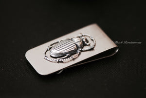 Scarab Money Clip - Egyptian Beetles Antique Sterling Silver Plated Brass Stamping - Stainless Steel Clip