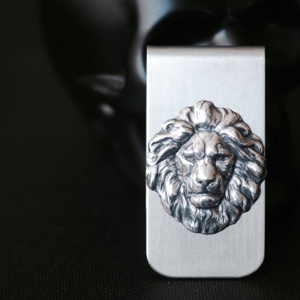 The Lion Money Clip - Antique Sterling Silver Plated Brass Stamping - Stainless Steel Clip