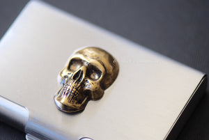 CUSTO Stainless Steel Business Card Case - Skull Head Made in USA Stamping -  Insurance Included
