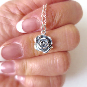 A Little Rose Flower Charm Necklace - Solid 925 Sterling Silver