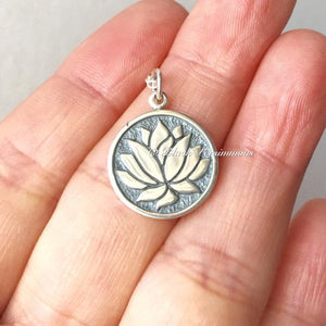 Etched Lotus Flower Necklace - Solid 925 Sterling Silver