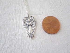 Angel Holding Heart Pendant Necklace - Solid 925 Sterling Silver