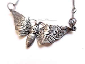 Deaths Head Moth Pendant Necklace - Oxidized Solid 925  Sterling Silver Halloween Skully