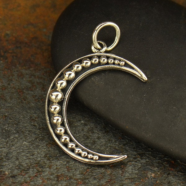Crescent Moon with Granulation Necklace - Solid 925 Sterling Silver Charm - Insurance Included