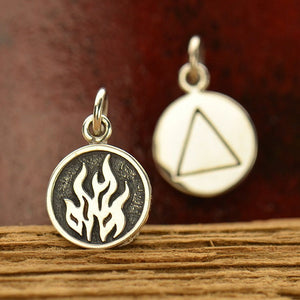 Fire Element Necklace -  Satin 24k Gold Plated Sterling Silver