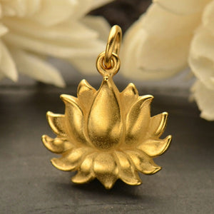 Large Textured Blooming Lotus Flower Charm Necklace - Satin 24k Gold Plated Sterling Silver