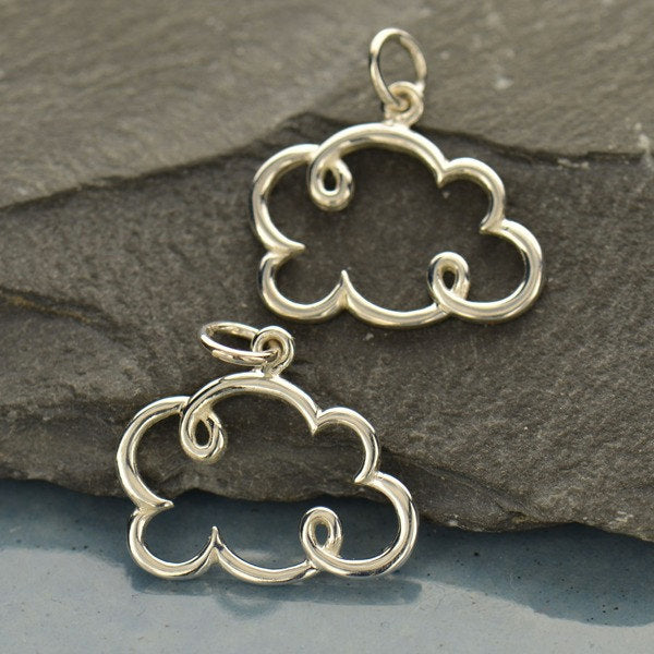 Cloud Cloud Necklace - Small Solid 925 Sterling Silver Pendant - Insurance Included