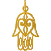 Hamsa Hand Necklace - 24k Gold Plated Sterling Silver Vermeil Large Hamesh Heart Auspicious Charm 14K Gold Filled Chain - Insurance Included