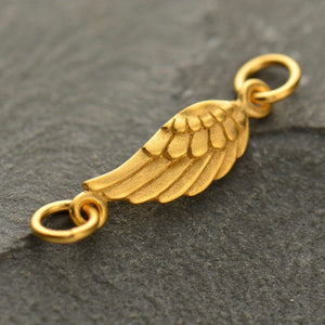 Tiny Angel Wing Necklace - Satin 24k Gold Plated Sterling Silver