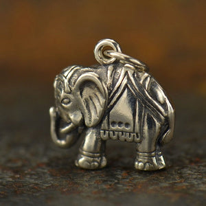 Elephant Necklace - Solid 925 Sterling Silver Auspicious Feng Shui Charm - Insurance Included