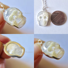 Hand Carved Mother of Pearl Skull Pendant Necklace - Solid 925 Sterling Silver