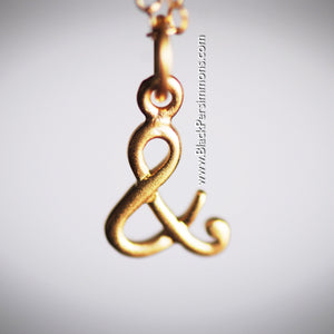 "Ampersand ""&"" And Charm Necklace - Satin 24k Gold Plated Sterling Silver"