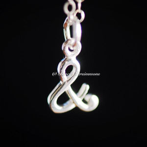 "Ampersand ""&"" And Charm Necklace - Solid 925 Sterling Silver"