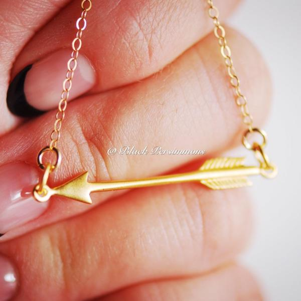 Arrow Festoon Pendant Necklace - Satin 24k Gold Plated Sterling Silver