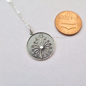 Dandelion Necklace - Solid 925 Sterling Silver Granulation Charm - Insurance Included