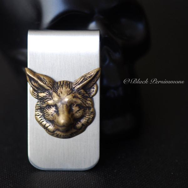 Wolf Money Clip - Brass Oxidized Stamping - Stainless Steel Clip