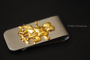 Gemini Money Clip - Vintage Polished Brass The Twins Stamping Zodiacs Astrology Signs - Stainless Steel Clip