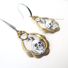 Frances - Victorian Ornate Gothic Skull Earrings - Made in USA Stampings - Antique Gold - Insurance Included