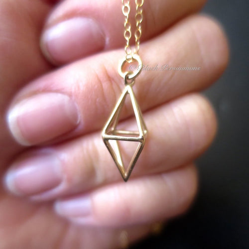Short 3D Diamond Cage Pendant Necklace - Natural Bronze