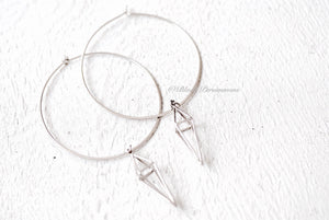 Long 3D Diamond Cage Hoop Earrings - Solid 925 Sterling Silver