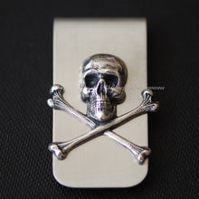 Jolly Roger Money Clip - Skull Cross Bones Antique Sterling Silver Plated Brass Stamping - Stainless Steel Clip