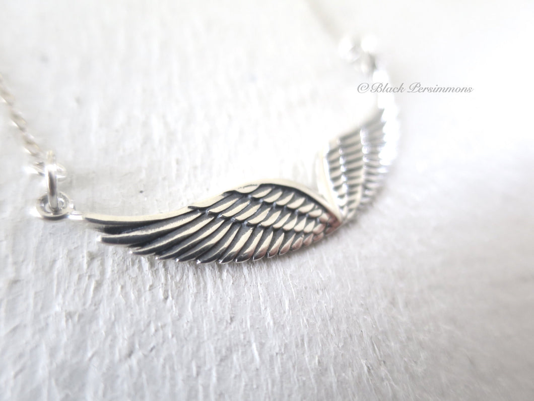Double Angel Wing Festoon Necklace - Solid 925 Sterling Silver Pendant - Insurance Included