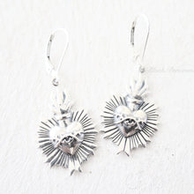Sacred Flaming Heart with Thorns Earrings - Solid 925 Sterling Silver