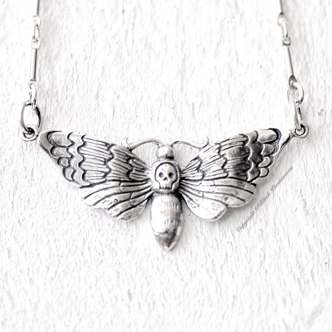 Deaths Head Moth Pendant Necklace - Solid 925  Sterling Silver Halloween Skully