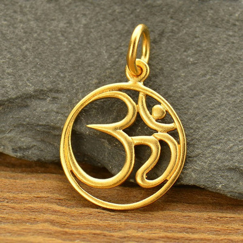 Ohm Necklace - Satin 24k Gold Plated Sterling Silver