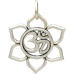 Small Lotus with Ohm Center Necklace - Solid 925 Sterling Silver