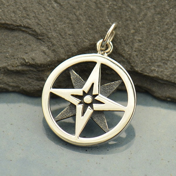 North Star Compass Necklace - 925 Solid Sterling Silver Charm - Insurance Included