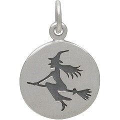 Witch Necklace - Solid 925 Sterling Silver Charm - Insurance Included