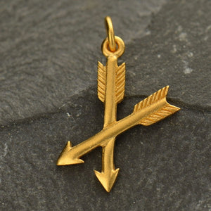 Crossed Arrows Necklace - 24k Gold Plated Sterling Silver Vermeil Charm - Insurance Included