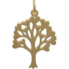 Tree of LOVE Necklace - 24k Gold Plated Sterling Silver Charm - 14K Gold Filled Chain - Insurance Included