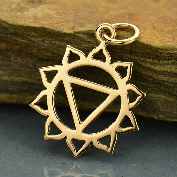 Solar Plexus Chakra Necklace - Natural Bronze Pendant - 14K Gold Filled Delicate Chain - Insurance Included