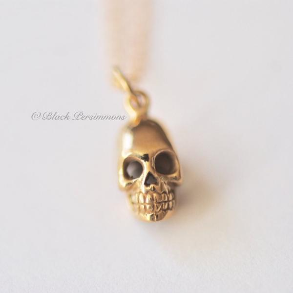 Skull Charm Necklace - Natural Bronze