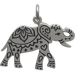 Decorated Etched Elephant Necklace - Solid 925 Sterling Silver Auspicious Feng Shui Charm - Insurance Included
