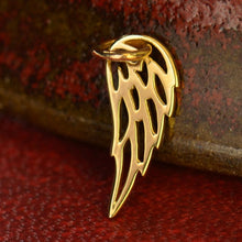 Tiny Angel Wing Charm Necklace - Solid 14K Gold